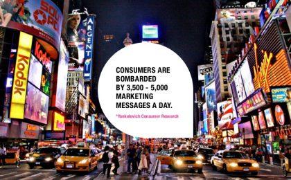* Pagal Dr. Yankelovich atliktą tyrimą - vartotojai kasdien pamato 3500-5000 reklaminių žinučių.